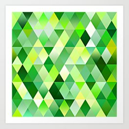 Lime Green Yellow White Diamond Triangles Mosaic Pattern Art Print