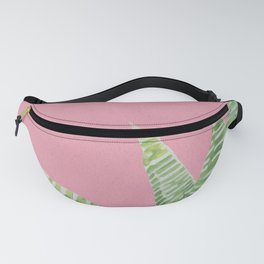 Watercolor Aloe Plant on Pink Fanny Pack