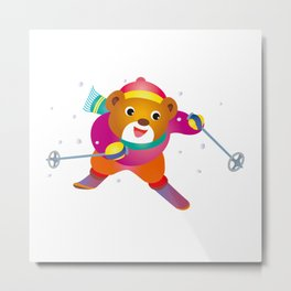 Bear to ski Metal Print