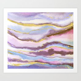 evening sky with gold foil Art Print