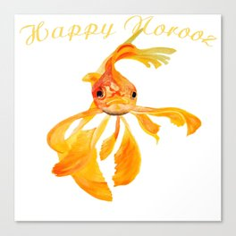Happy Norooz Persian New Year Goldfish Isolated Canvas Print