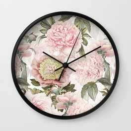 Vintage & Shabby Chic - Antique Pink Peony Flowers Garden Wall Clock