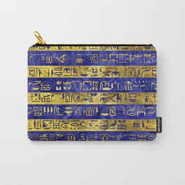 Golden Egyptian  hieroglyphs pattern on  blue Carry-All Pouch