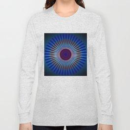 Mandala Sunrise in Maroon and Blue Long Sleeve T-shirt