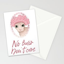 No Hair Don't Care - Sphynx Cat in a Pink Shower Cap Stationery Cards