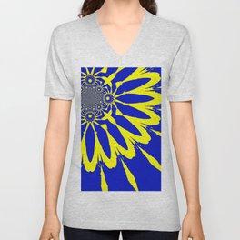 The Modern Flower Blue & Yellow Unisex V-Neck