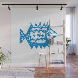 Fish blue pattern Wall Mural