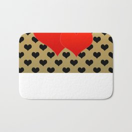 Two red hearts in tandem on black hearts pattern Bath Mat