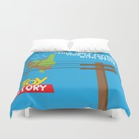 toy story Duvet Covers featuring Toy Story - Falling With Style by Gary Wood