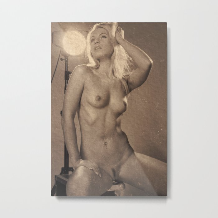 Photograph Vintage Look Nude Woman Metal Print