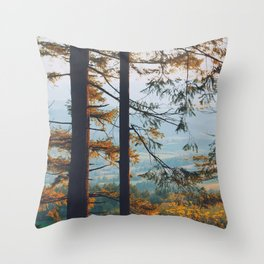 Earthscape Landscape Photography Tall Autumn Fall Trees Overlooking Fields Throw Pillow