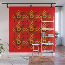 RED & YELLOW SUNFLOWER PATTERN Wall Mural