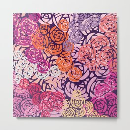 Colorful Overlapping Roses on Roses Print Design Metal Print