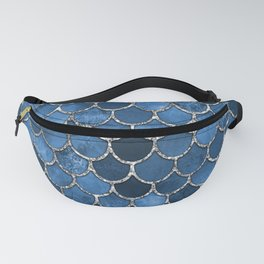 Blue Silver Mermaid Scales Fanny Pack