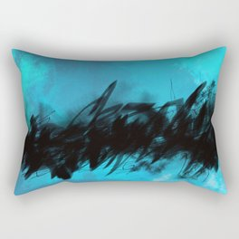 Azure Blue Abstract with Black Inky Middle Rectangular Pillow