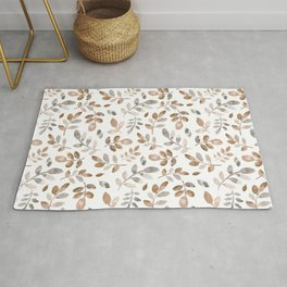 Watercolor brown fall autumn leaves floral Rug