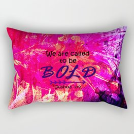 CALLED TO BE BOLD Floral Abstract Christian Typography Scripture Jesus God Hot Pink Purple Fuchsia Rectangular Pillow