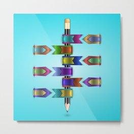 Colorful web ribbons with pencil Metal Print