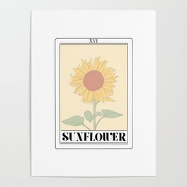the sunflower tarot card Poster