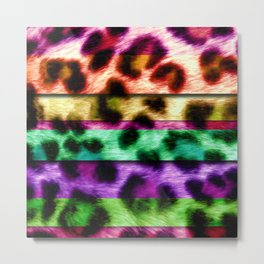 Multicolor Leopard Print Colorful Stripes Metal Print