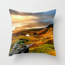 Old Man of storr (Painting) Throw Pillow