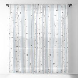 Aspen Forest - Blue Grey Sheer Curtain