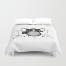 Black Drum Kit Duvet Cover