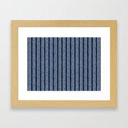 Mud cloth - Navy Arrowheads Framed Art Print