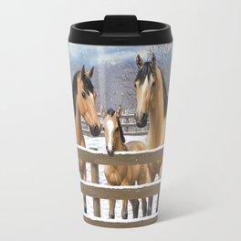 Buckskin Quarter Horses In Snow Travel Mug
