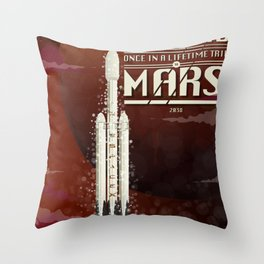 Spacex rocket to Mars Throw Pillow