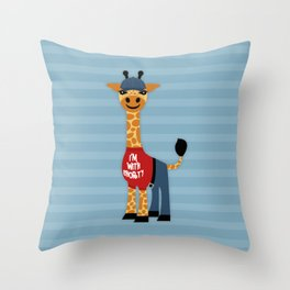 Cute Giraffe in T-Shirt - I'm with Shorty Throw Pillow