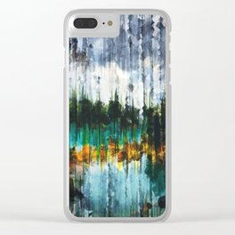Abstract Mountain Lake Clear iPhone Case