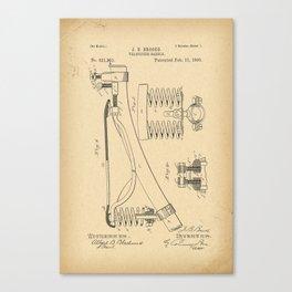 1890 Patent Bicycle saddle Canvas Print