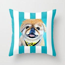 Peke Fred Yellow Throw Pillow