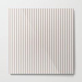 Mattress Ticking Narrow Striped Pattern in Chocolate Brown and White Metal Print