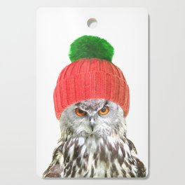 Owl with cap winter holidays Cutting Board