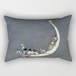 """ Moon's First Voyage"" Fairy Art by W Heath Robinson Rectangular Pillow"