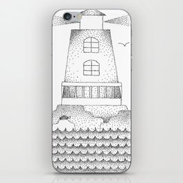 Lighthouse Pointillism Black and White iPhone Skin