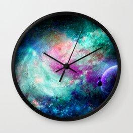Teal Galaxy Wall Clock