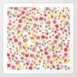 Rustic pink red yellow botanical roses flowers floral pattern Art Print