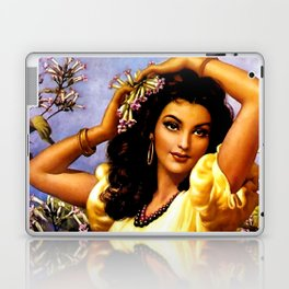 Mexican Beauty with Purple Flower by Jesus Helguera Laptop & iPad Skin