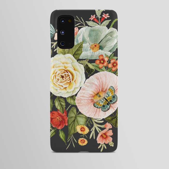 Wildflower and Butterflies Bouquet on Charcoal Black Android Case