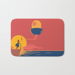 The Girl and The Curious Alien Bath Mat