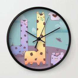 Kawaii Giraffe Planet Wall Clock