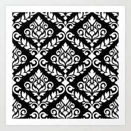 Prima Damask Pattern White on Black Art Print