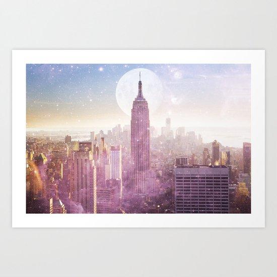 I LOVE PINK NEW YORK CITY SKYLINE - Full Moon Universe Art Print
