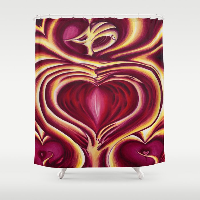 4 of hearts Shower Curtain