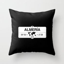 Almería Andalusia with World Map GPS Coordinates and Compass Throw Pillow