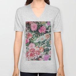 Vintage green pink lavender country floral Unisex V-Neck