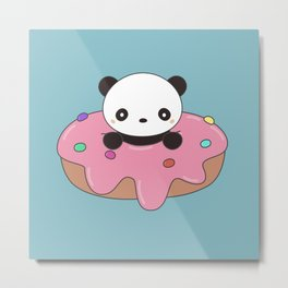 Kawaii Cute Panda Donut Metal Print